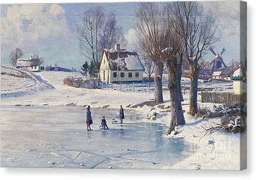 Sledging On A Frozen Pond Canvas Print by Peder Monsted