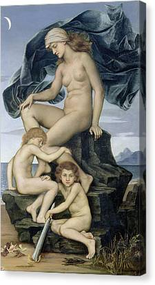 Sleep And Death The Children Of The Night Canvas Print by Evelyn De Morgan