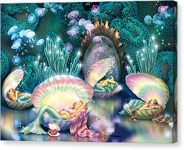 Sleeping Mermaids Canvas Print by Zorina Baldescu