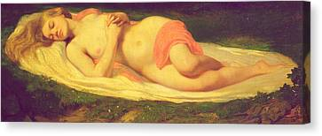 Sleeping Nymph Canvas Print by Jean Baptiste Ange Tissier