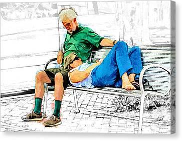 Sleeping On A Park Bench Canvas Print by John Haldane
