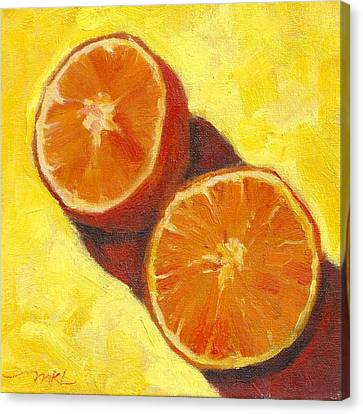 Sliced Grapefruit Canvas Print by Marlene Lee