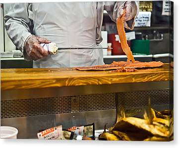 Slicing Smoked Salmon At Zabar's Canvas Print by Rona Black