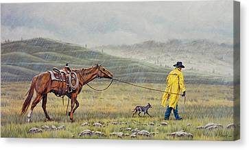 Slicker Weather Canvas Print by Paul Krapf