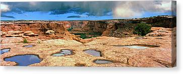 Slickrock Waterpocket Pools Reflect Canvas Print by Panoramic Images