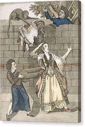 Slight Of Hand By A Monkey Or The Ladys Canvas Print by English School