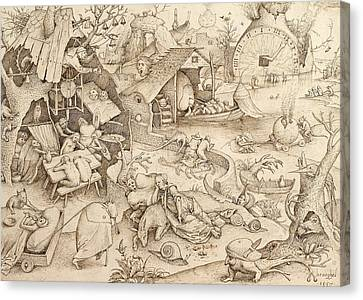 Sloth Pieter Bruegel Drawing Canvas Print by