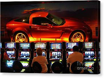 Slots Players In Vegas Canvas Print by John Malone