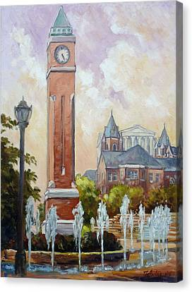 Slu Clock Tower In St.louis Canvas Print by Irek Szelag