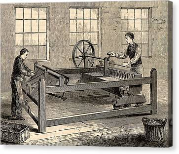 Slubbing-billy To Spin Carded Wool Canvas Print by Universal History Archive/uig