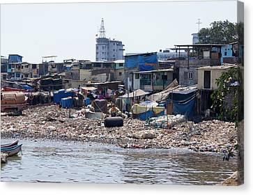 Slum In Colaba Canvas Print by Mark Williamson