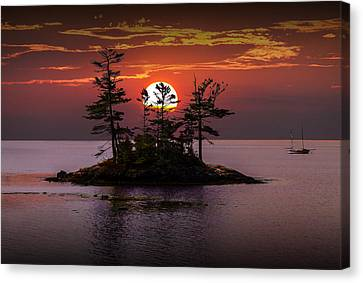 Small Island At Sunset Canvas Print by Randall Nyhof