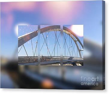 Small Modern White Bridge Canvas Print by Beverly Claire Kaiya