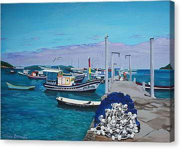 Small Pier In The Afternoon-buzios Canvas Print by Chikako Hashimoto Lichnowsky