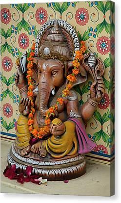 Small Shrine To Ganesh, Jaipur Canvas Print by Inger Hogstrom