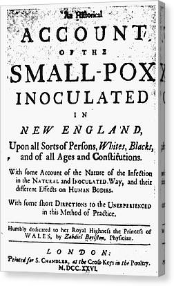 Smallpox: Title Page, 1726 Canvas Print by Granger