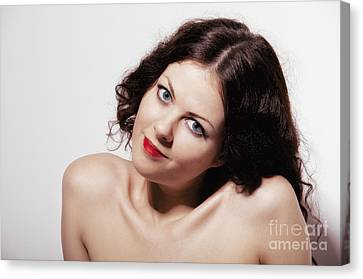 Smiling Girl With Naked Shoulders Canvas Print by Aleksey Tugolukov