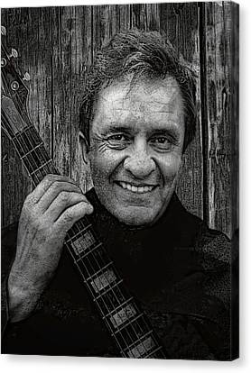 Smiling Johnny Cash Canvas Print by Daniel Hagerman