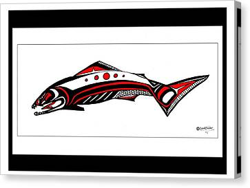 Smiling Salmon Canvas Print by Speakthunder Berry