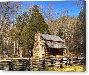 Smokey Mountain Cabin Canvas Print by Daniel Eskridge