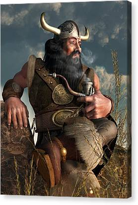 Smoking Dwarf Canvas Print by Daniel Eskridge