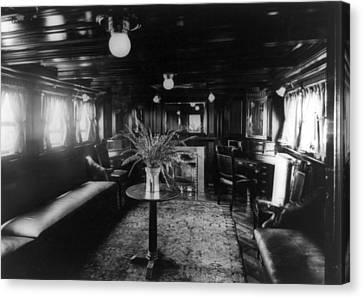 Smoking Room On The Presidential Yacht Canvas Print by Everett
