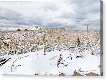 Smuggler's Beach Snow Cape Cod Canvas Print by Michelle Wiarda