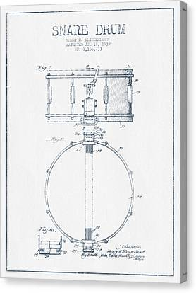 Snare Drum Patent Drawing From 1939 - Blue Ink Canvas Print by Aged Pixel