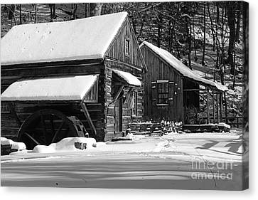 Snow Bound In Black And White Canvas Print by Paul Ward