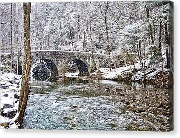 Snow Coming Down On The Wissahickon Creek Canvas Print by Bill Cannon