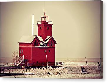 Snow Cover Big Red Canvas Print by Dawdy Imagery