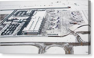 Snow-covered Fedex Terminal Canvas Print by Jim West
