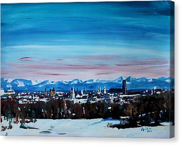 Snow Covered Munich Winter Panorama With Alps Canvas Print by M Bleichner