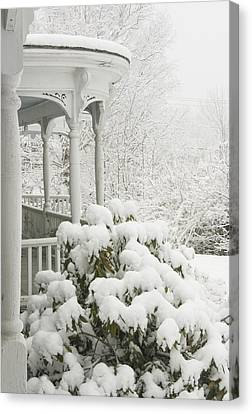Snow Covered Porch Canvas Print by Keith Webber Jr