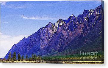 Snow Covered Purple Mountain Peaks Canvas Print by PainterArtist FIN