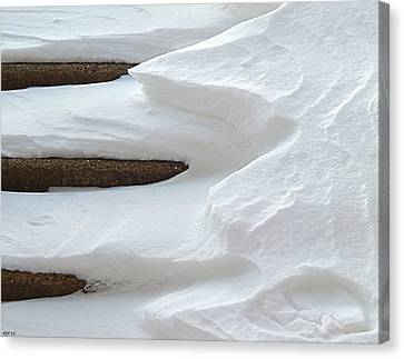 Snow Covered Steps Canvas Print by Phil Perkins