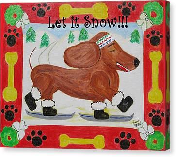 Snow Dog Canvas Print by Diane Pape