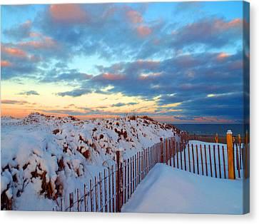 Snow Dunes At Sunrise Canvas Print by Dianne Cowen