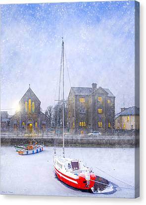 Snow Falling On The Claddagh Church - Galway Canvas Print by Mark E Tisdale