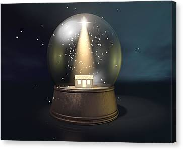 Snow Globe Nativity Scene Night Canvas Print by Allan Swart