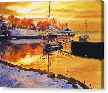 Snow Harbor Canvas Print by David Lloyd Glover