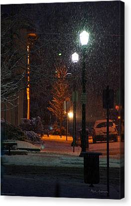 Snow In Downtown Grants Pass - 5th Street Canvas Print by Mick Anderson
