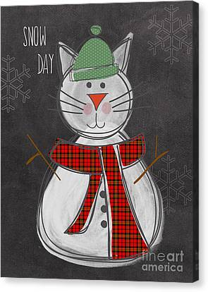 Snow Kitten Canvas Print by Linda Woods