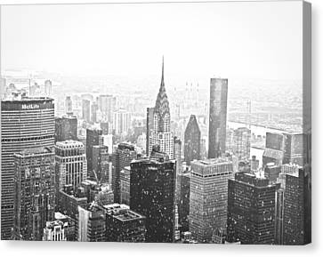 Snow - New York City Skyline Canvas Print by Vivienne Gucwa