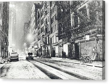 Snow - New York City - Winter Night Canvas Print by Vivienne Gucwa