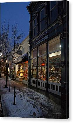 Snow On G Street - Old Town Grants Pass Canvas Print by Mick Anderson