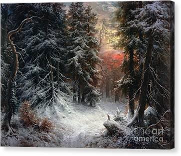 Snow Scene In The Black Forest Canvas Print by Carl Friedrich Wilhelm Trautschold