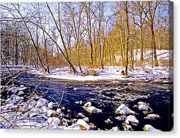 Canvas Print featuring the photograph Snow Scene Pennsylvania Woodland Stream by A Gurmankin