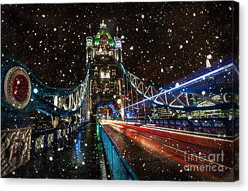 Snow Storm Tower Bridge Canvas Print by Donald Davis