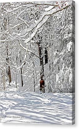 Snow Walking Canvas Print by Denise Romano